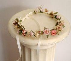 Woodland Bridal Headwreath flower crown Wedding hair Accessories Fall rustic weddings dried floral hair wreath bridesmaid hairwreath circlet...