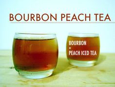 Bourbon Peach Tea Top a shot or two of bourbon with iced tea and garnish with a lemon wedge. Bottled tea like Snapple works, but you could also brew or mix your own peach tea (that way you can adjust the amount of sugar in it). Easy Cocktails, Cocktail Drinks, Fun Drinks, Yummy Drinks, Cocktail Recipes, Alcoholic Drinks, Drink Recipes, Bourbon Cocktails, Bourbon Recipes