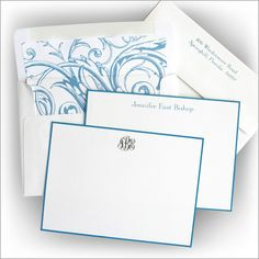 French Blue Bordered Correspondence Cards from American Stationery
