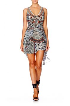 ANTIQUE BATIK MULTI LAYER V-NECK DRESS by Camilla