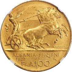 ALBANIA. 100 Franga Ari, 1927-R. Reverse