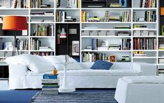 Modern Bookcase Furniture in Home Library Contemporary Bookcase, Modern Bookcase, Bookcase Wall, Wall Shelves, Bookcases, Basement Shelving, Shelving Units, White Shelves, Book Shelves