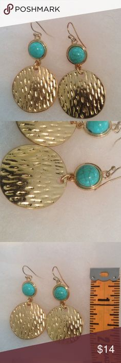 Statement Earrings Gold Tone Earrings With An Eye Catching Turquoise Color Stone Jewelry Earrings