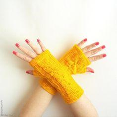 Yellow Fingerless Gloves