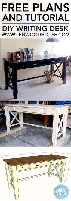 DIY Furniture Plans & Tutorials : How to build a DIY writing desk. Free plans and step-by-step tutorial!
