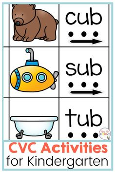 Use these CVC worksheets and activities to strengthen your kindergarten students' blending and reading skills. Kindergarten Classroom, Kindergarten Activities, Cvc Worksheets, Phonics Games, Beginning Reading, Cvc Words, Letter Sounds, Reading Skills, Going To Work