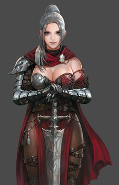 f Ranger Medium Armor Cloak Greatsword female undercity urban City lg Fantasy Female Warrior, Female Armor, Female Knight, Warrior Girl, Fantasy Armor, Fantasy Art Women, Fantasy Girl, Art Anime, Anime Art Girl