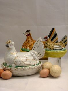 Trio of Staffordshire Hen on Nest - Which came first, the hen or the egg?  This delightful trio of 19th C. Staffordshire Hen on Nest is first on our list for Spring decorating.