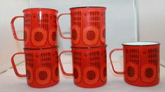Arabia Finland Lintu Birds Enamel 5 Mugs Cups Set Kaj Franck Red Orange AS-IS