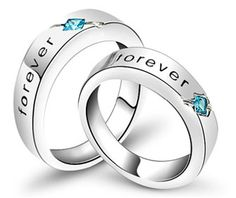 'Forever' Engraved Promise Rings for Couples with Blue Stones 925 Sterling Silver