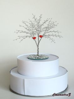 Red Love Birds Beaded Wire Tree Sculpture Wedding by cassandraz, $62.00