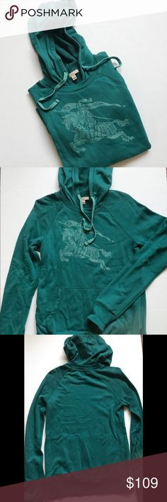 Burberry Brit  Women's Prorsum Sweater with Hood Authentic Burberry Brit Women's Sweater with Hood in Teal. Size Medium. 100% Cotton. Used only twice- no stains or tears. Burberry Sweaters