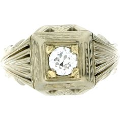 Gents Art Deco 18K White Gold & Diamond Ring