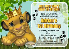 Lion King/Simba Personalized Invitation. But got a more vibrant blue for background.