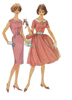 1960s McCalls 5369 Scoop Neck Shirtwaist Dress w/ Slim or Full Skirt,  Attached or Detachable Collar - Size 14, Bust 34 - Misses/Junior