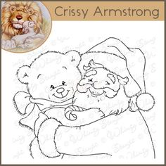 Whimsy Crissy Armstrong Rubber Stamp - Santa and Teddy Portrait