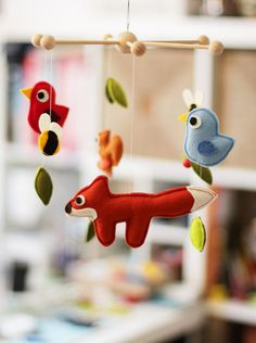 baby mobile wood friends  100 wool felt by catmade on Etsy, €57.00
