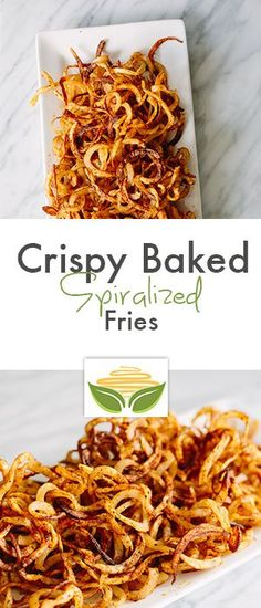 Crispy Baked Spiralized Fries - do it with sweet potato for healthy option Potato Dishes, Veggie Dishes, Food Dishes, Side Dishes, Zoodle Recipes, Vegetarian Recipes, Healthy Recipes, Bariatric Recipes, Mexican Recipes