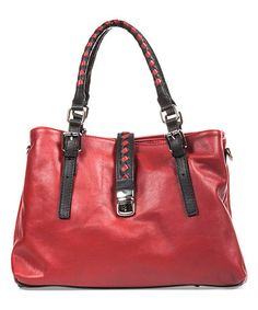 This Red & Black Braided Leather Shoulder Bag is perfect! #zulilyfinds