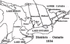 Map of the districts of Upper Canada in 1836 Lake Huron, Lake Erie, Ontario, Canada, Map, Life, Maps, Peta