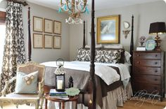 benjamin moore pale oak wall color.....love the bed linens too!