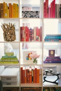 bookcase as room divider. color coordinated books keep it interesting rather than cluttered