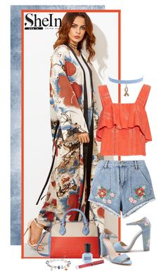 """""""Shein multicolored flower print Kimono"""" by lorrainekeenan ❤ liked on Polyvore featuring House of Holland, Love Moschino, ace & jig, The Bradford Exchange, Deborah Lippmann, LASplash and Jules Smith"""