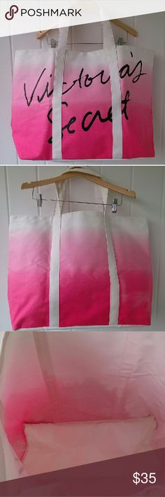 "Huge VS Ombre Tote With this limited edition and hard to find Victoria's Secret Pink Ombre Tote in hand and the sun at your back, you'll be ready to head to the beach! This beautiful bag has only been used once and is in Excellent Used Condition. Measures16"" x 25"". Sold out online and in stores.   Bundle and save!  Offers welcome! Questions? Just ask!  Happy Poshing! Victoria's Secret Bags Totes"