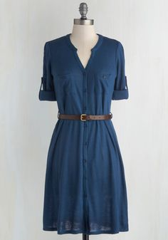 T.A.-Okay Dress in Blue. Youre quickly learning how to be the best teaching assistant you can be as you also gather garments ideal for post-lecture recaps. #blue #modcloth