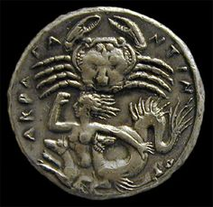 silver coin of Agrigentum, Sicily: fifth century BCE A giant crab hovers above Scylla, who is depicted as a female with ravening dogs at her loins. Amsterdam, Allard Pierson Museum