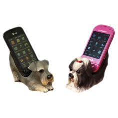 polyresin lovely dog phone holder