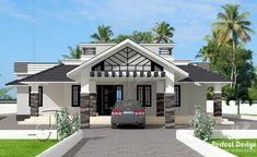 This one storey with roof deck has 3 bedrooms and having a total floor area of 148 square meters. Distinctive with its design, the porch is a double purpose area where it can be a wide porch itself and a parking area or garage for one vehicle. House Outside Design, House Front Design, Small House Design, Single Floor House Design, Best Modern House Design, Bungalow Haus Design, Bungalow House Plans, Style At Home, One Storey House