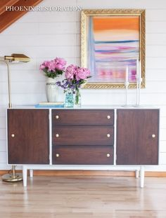 maybe paint the entertainment center like this.  Mid Century Modernized Sideboard W/ High Gloss Oil Enamel & Gel Stain