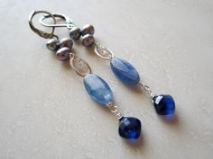 Lisa Chandler Jewelry — Kyanite, Pearl, Quartz, Sterling Earrings -- One-of-a-Kind (F982)