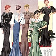 This vintage French Star sewing pattern catalog for PDF download is from Winter 1936. Vibrant and dynamic, it features couture styles fresh from Paris. Pages include colourful evening gowns, wedding dresses, elegant coats and suits, and dresses for all times of day. There are skirts