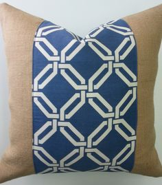 "Lovely blue combines perfectly with natural burlap on this pillow cover.  Measuring approximately 19"" square, this cover is made to fit a 20"" square pillow form"