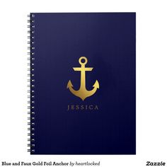 Blue and Faux Gold Foil Anchor Notebook