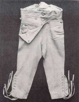 buckskin breeches, White buckskin inexpressibles, (left) from the 1790s,