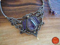 Amethyst Macrame Necklace macrame jewelry macrame necklace