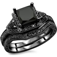 Noori Collection 14k Gold Princess-Cut Black Diamond Engagement Ring... ($1,722) ❤ liked on Polyvore featuring jewelry and rings