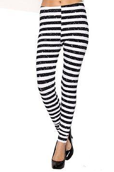 Women's New Sexy Nautical Black and White Stripe Tribal Fashion Leggings