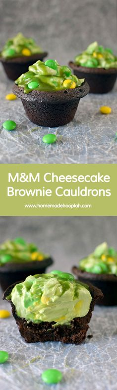 M&M Cheesecake Brownie Cauldrons! Brownie cauldrons with green cheesecake filling, sprinkled with M&M's and drizzled with green caramel sauce. | HomemadeHooplah.com
