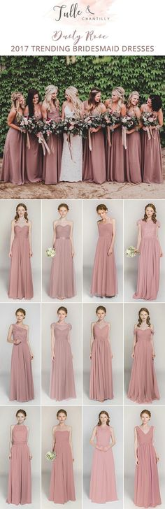 Bridesmaid dresses - dusty rose bridesmaid dresses for fall 2017 Dusty Rose Bridesmaid Dresses, Dusty Rose Wedding, Bridesmaid Dress Colors, Bridesmaids And Groomsmen, Wedding Bridesmaids, Wedding Dresses, Wedding Bouquets, Wedding Gowns 2017, Bohemian Bridesmaid Dresses