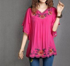 Floral EMBROIDERED BOHO Hippie Tunic Blouse