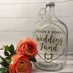custom fund jar wedding engagement gift - plus  a  collection  of  wedding  engagement  gifts  for  the  couple  from  Etsy,  curated  by  The  Garter  Girl  #thegartergirl  #gartergirl  #gartergirlloves  #engaged  #engagementgift  #wedding  #couple #weddinggifts #uniquegifts #engagedcouple