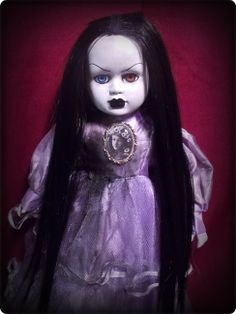 Creepy Black hair Gothic Lady with 2 Different eyes in Purple Dress Halloween ebay id: bastet2329