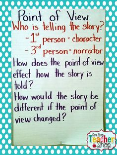 Point of View and Perspective Anchor Chart