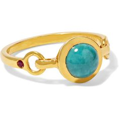 SCOSHA Rio gold-plated, turquoise and ruby ring ($295) ❤ liked on Polyvore featuring jewelry, rings, polish jewelry, druzy ring, ruby jewelry, turquoise rings and green turquoise ring