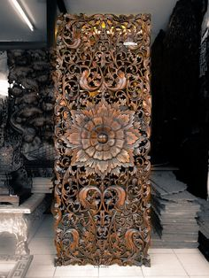 Teak Wood Carving Wall Sculpture Panel. Perfect For Bed Headboard From Thailand. Asian Home Decor. (180X70 Cm. Extra Thick. Dark Brown)