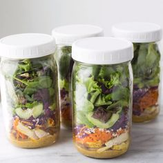 Thai Chicken & Sweet Potato Mason Jar Salads! Easy, DELICIOUS and perfect for meal prep for the week. #thaichickensalad #lunch #masonjarsalads #chickensalad
